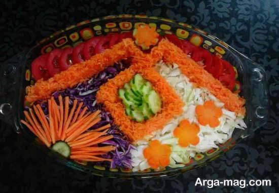 تزیین سالاد هویج و کاهو