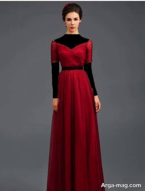 مدل لباس مجلسی بلند و شیک یقه هفت