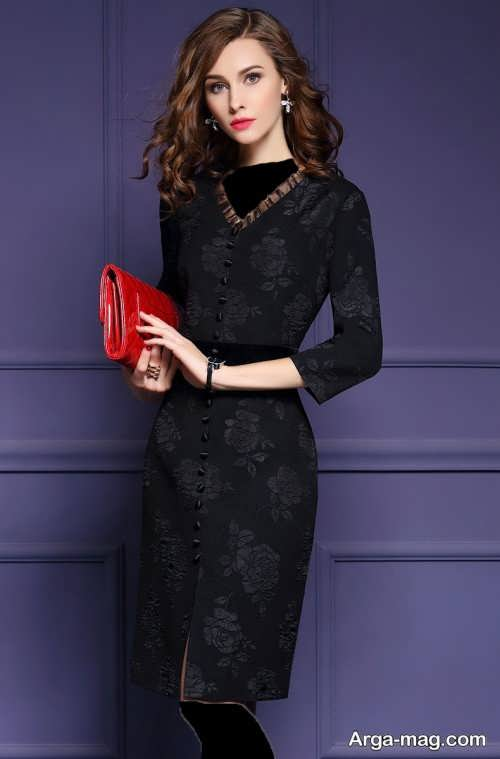 مدل لباس مجلسی یقه هفت کوتاه