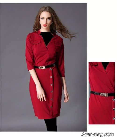 مدل لباس مجلسی قرمز یقه هفت