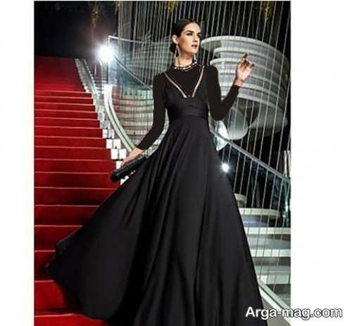مدل لباس مجلسی مشکی یقه هفت