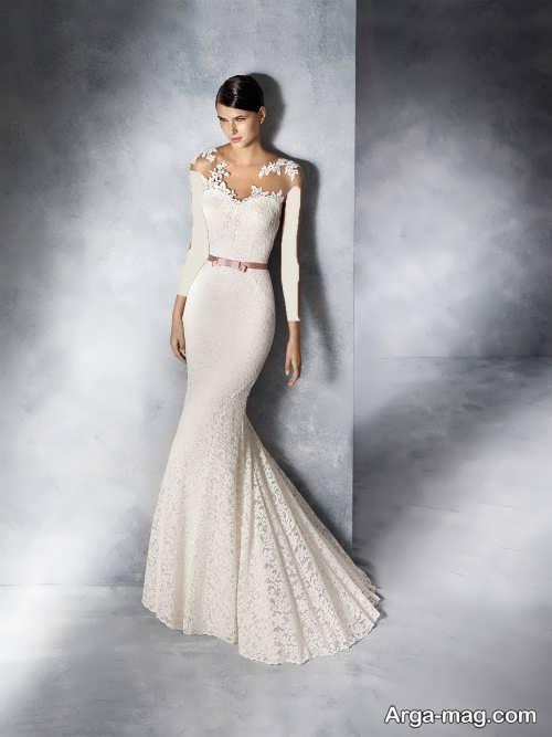 مدل لباس عروس کار شده با دانتل