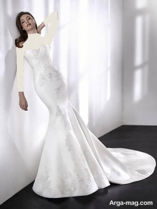 مدل لباس عروس بدون آستین و کار شده
