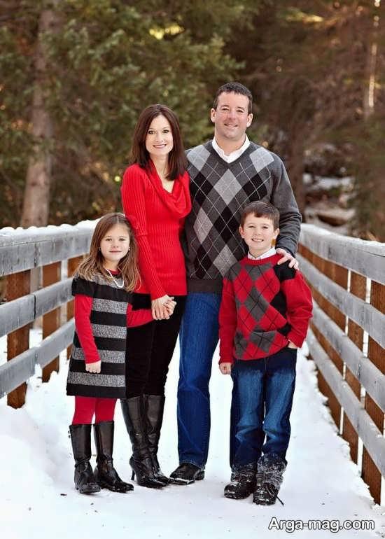 ژست عکس زمستانی خانوادگی