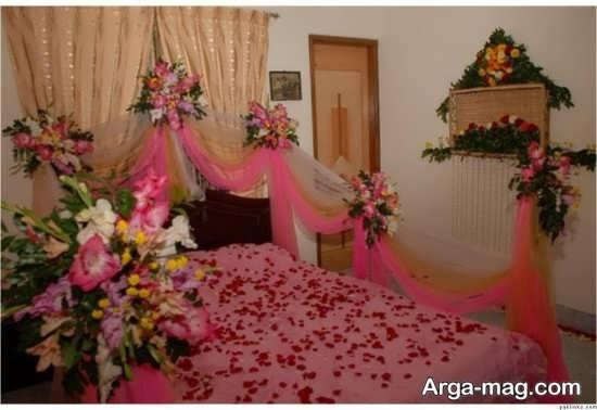 چیدمان زیبای تخت خواب عروس با تور