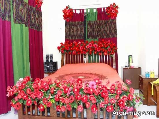 تزیین زیبای تخت خواب با گل