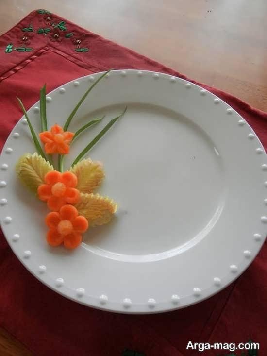 تزیین کردن ظرف غذا با هویج