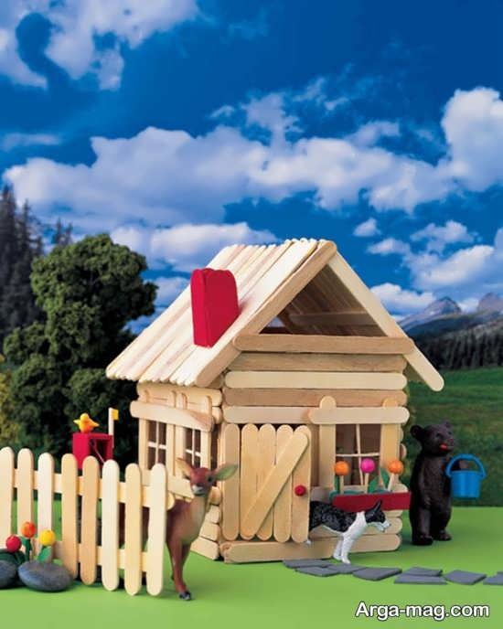 making house with ice cream sticks 13 - ایده های خلاقانه برای ساخت خانه با استفاده از چوب بستنی