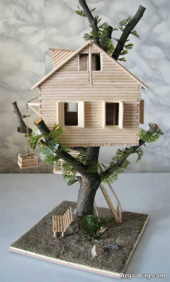ساخت خانه درختی با چوب بستنی