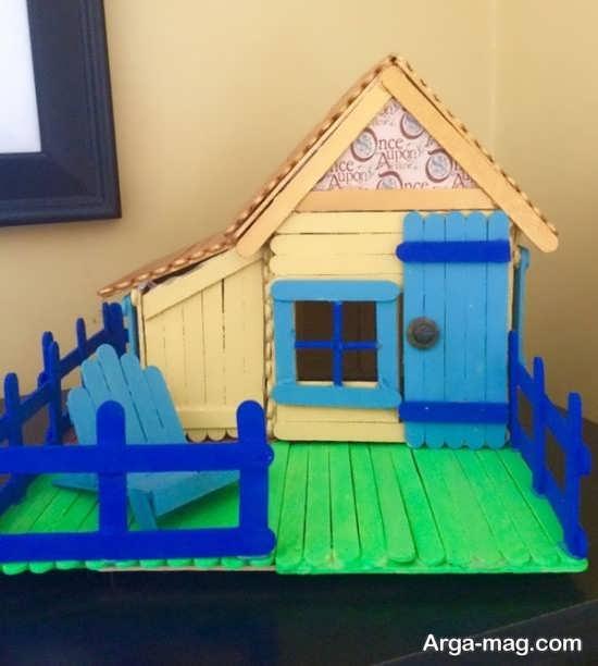 رنگ آمیزی چوب بستنی برای ساخت خانه
