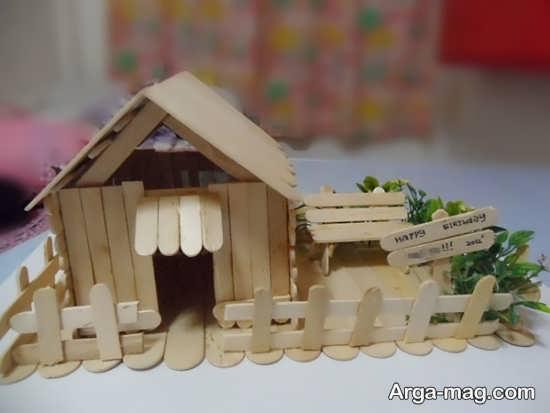 کاردستی زیبای خانه چوبی