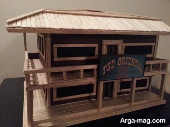 making house with ice cream sticks 5 - ایده های خلاقانه برای ساخت خانه با استفاده از چوب بستنی