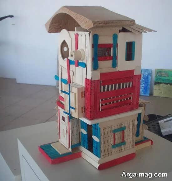 making house with ice cream sticks 7 - ایده های خلاقانه برای ساخت خانه با استفاده از چوب بستنی
