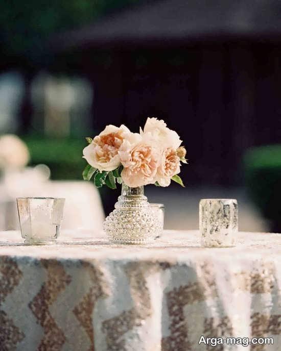 طراحی عالی میز شام عروسی با گل