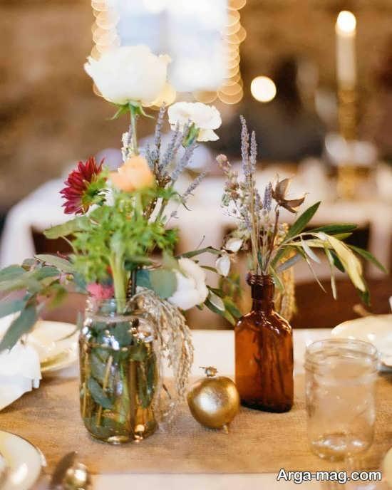 گل آرایی متفاوت میز شام
