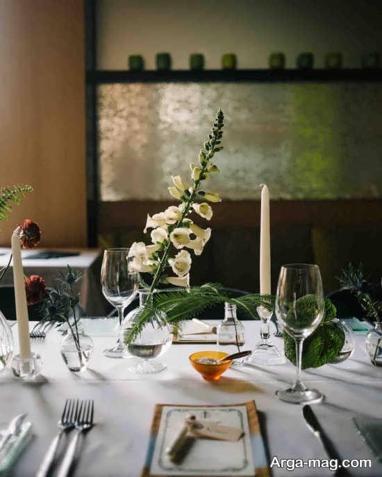 تزیین ظریف میز شام عروسی