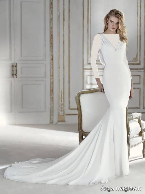 مدل لباس عروس دنباله دار و ساده
