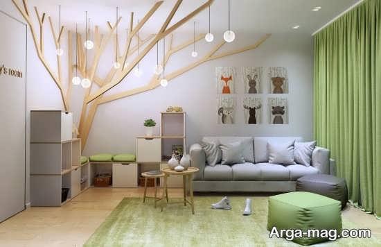 چیدمان اتاق کودک با طرح درختی