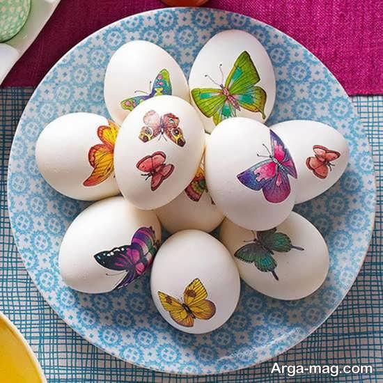 نقاشی تخم مرغ با طرح پروانه