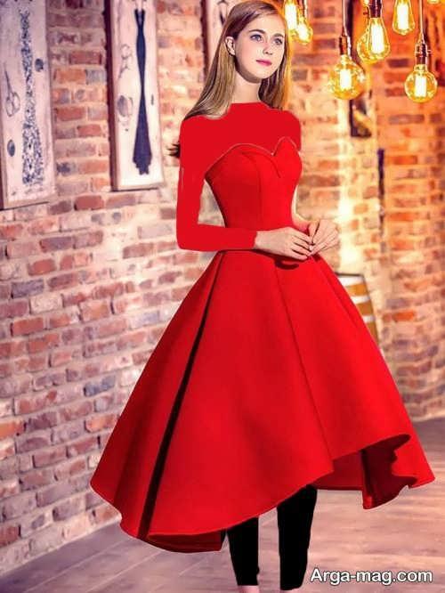 مدل لباس مجلسی قرمز دخترانه