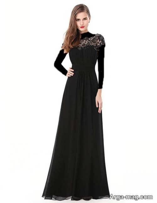 مدل لباس مجلسی مشکی و بلند