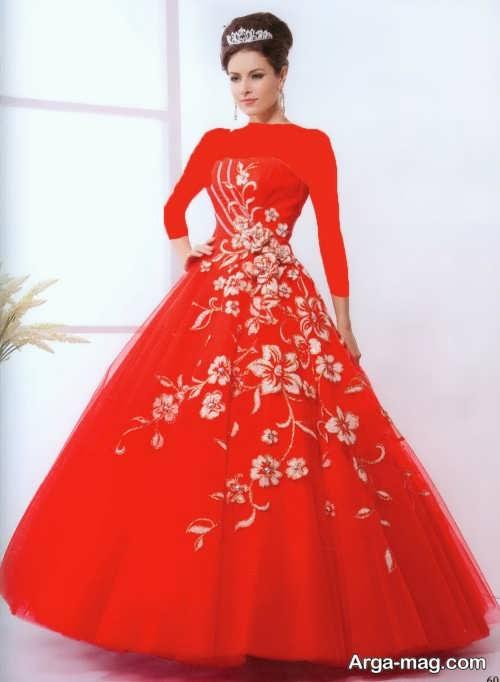 مدل لباس قرمز کار شده