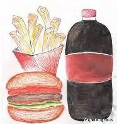 نقاشی انواع غذای سالم و ناسالم