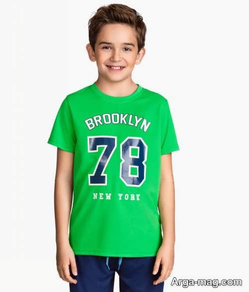 مدل تیشرت سبز بچه گانه