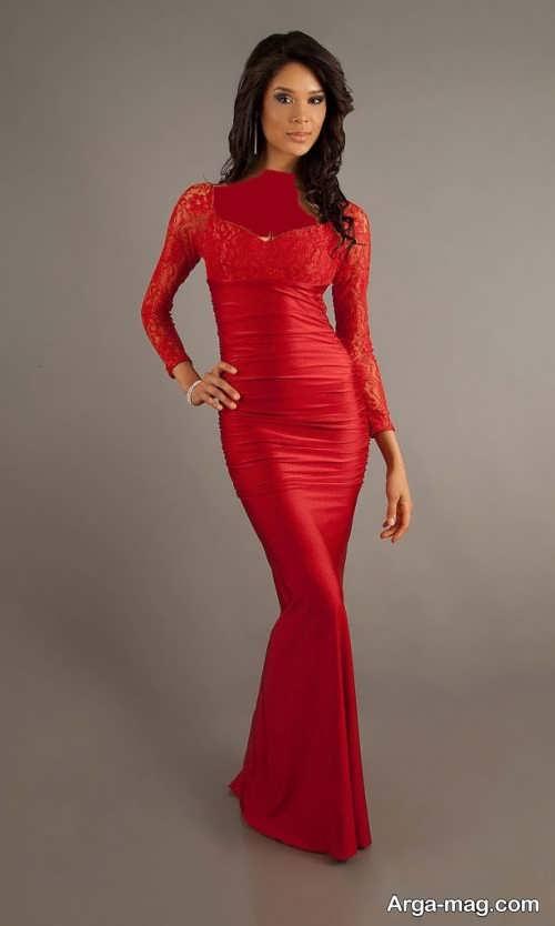 مدل لباس مجلسی قرمز و بلند