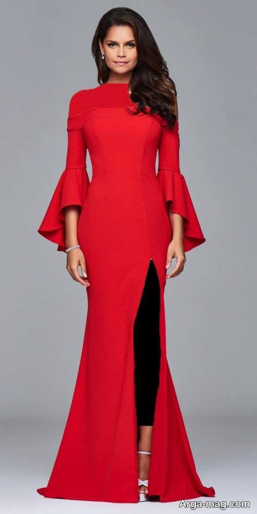 مدل لباس مجلسی قرمز و ساده
