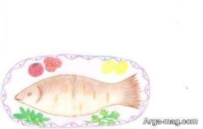 نقاشی کودکانه با ایده تغذیه سالم