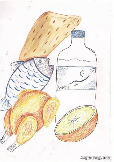 نقاشی با موضوع تغذیه سالم