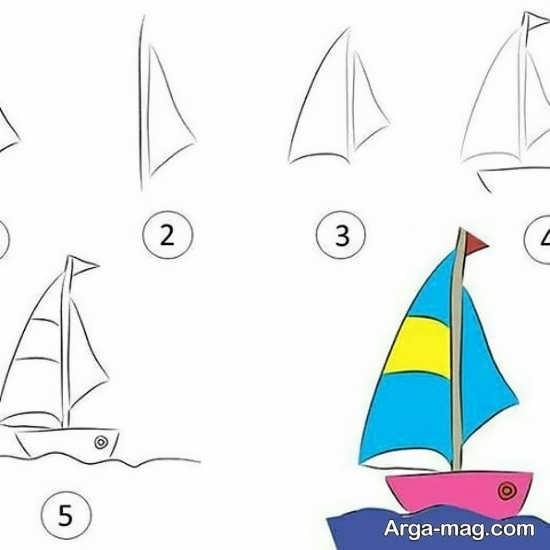 نقاشی جذاب قایق مخصوص کودک