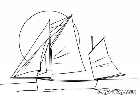 نقاشی کشیدن قایق با بادبان