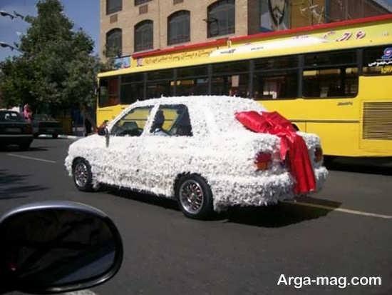 تزیین ماشین عروس با پر