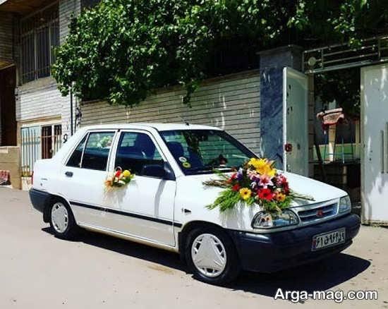 تزیین ماشین عروس پراید با گل