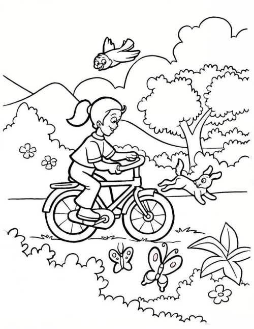 نقاشی جنگل و دوچرخه
