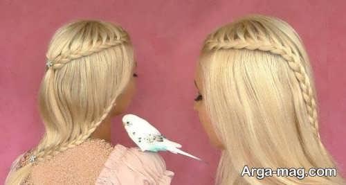 آرایش مو یک طرفه همراه با بافت مو