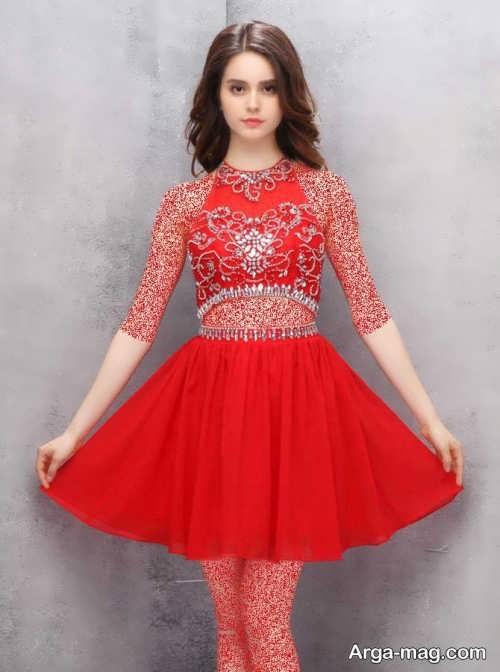 لباس مجلسی قرمز دو تیکه