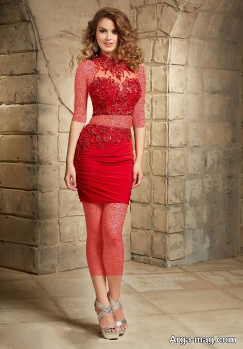 مدل لباس مجلسی دو تیکه قرمز