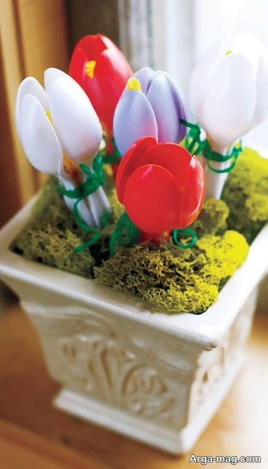 کاردستی گل رز با قاشق یکبار مصرف