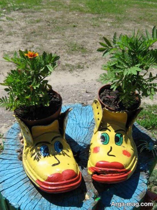 استفاده از کفش کهنه به جای گلدان