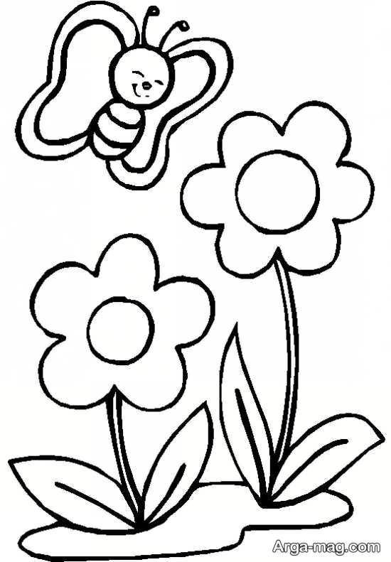 طرح گلدوزی پروانه و گل