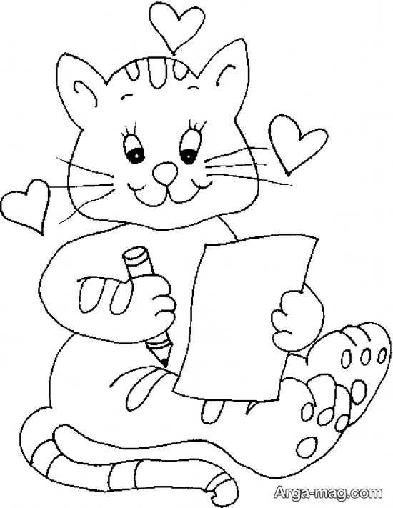 طرح زیبا گربه برای گلدوزی