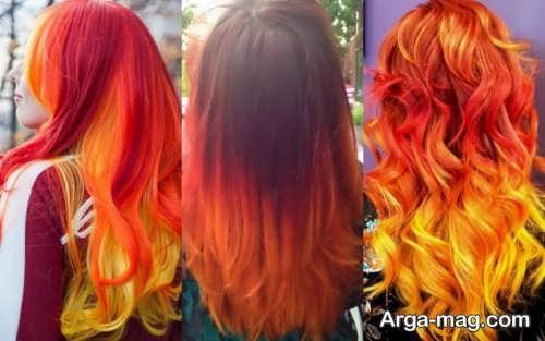 رنگ مو زیبا و فانتزی آتشی