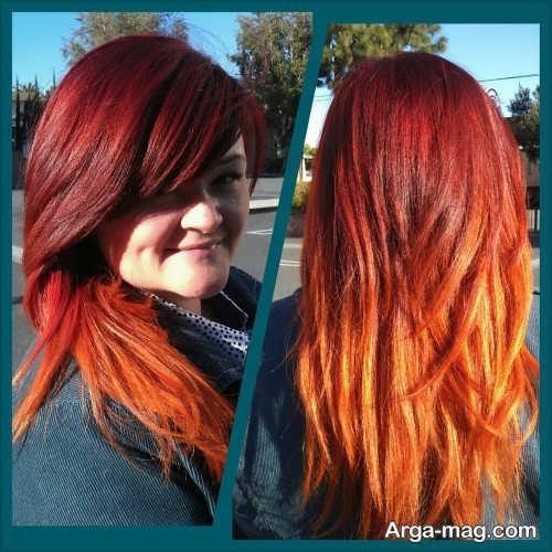 رنگ موی زیبا و فانتزی آتشی