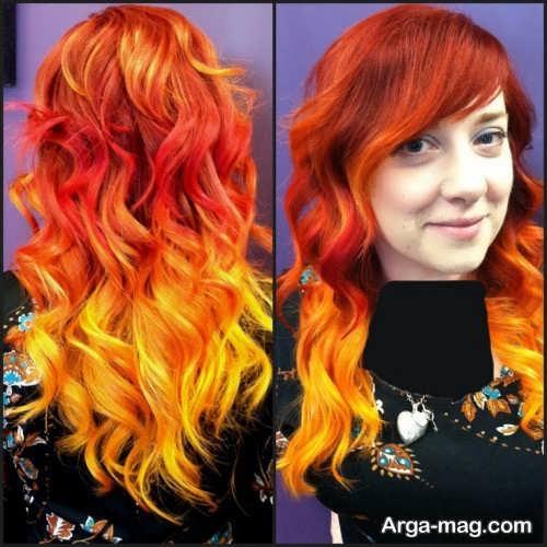 رنگ موی زیبا و جدید آتشی