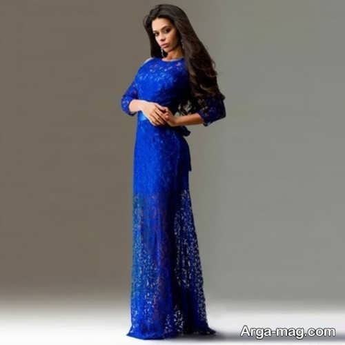 لباس مجلسی آبی گیپور