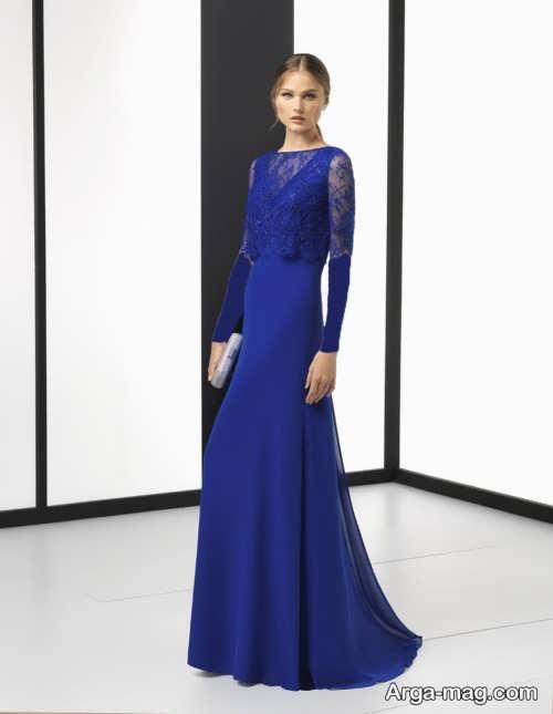 مدل لباس گیپور آبی کاربنی