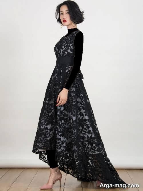 لباس مجلسی مشکی گیپور
